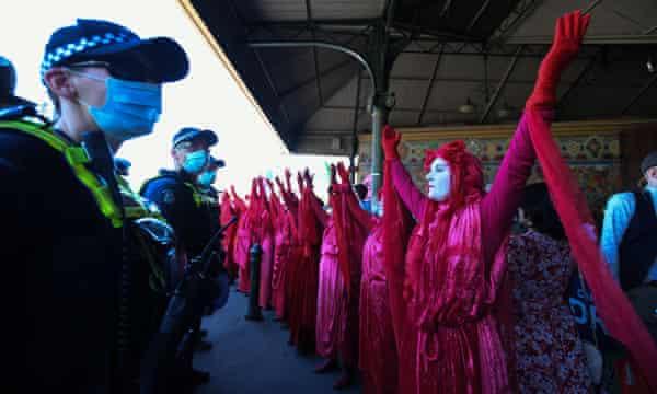 Extinction Rebellion protest in Melbourne.