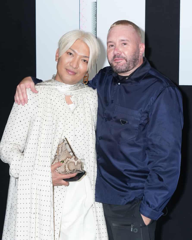 Fendi designer Kim Jones with fashion blogger Bryanboy during Milan fashion week.