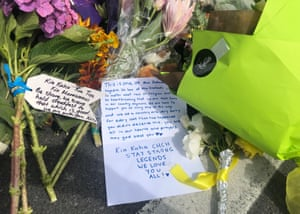 Flowers left in tribute at one of the sites of the Christchurch shooting.