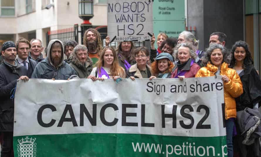 Campaigners outside high court's Rolls Building in central London