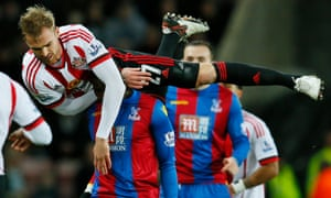 Sunderland's Jan Kirchhoff practises crowd surfing courtesy of Crystal Palace's Yannick Bolasie underneath