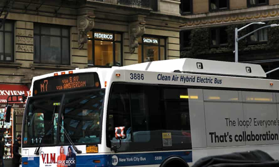 A hybrid electric bus in midtown Manhattan.