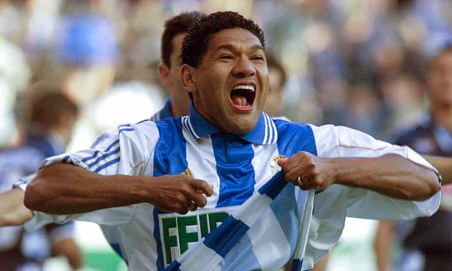 Donato celebrates his goal against Espanyol after three minutes at the Riazor on 19 May 2000. A 2-0 win gave Deportivo La Coruña their first Spanish League.