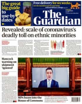 Guardian front page, Thursday 23 April 2020