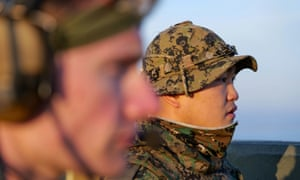 Members of South Korea and US Special forces take part in a joint military exercise at Gunsan Air Force base
