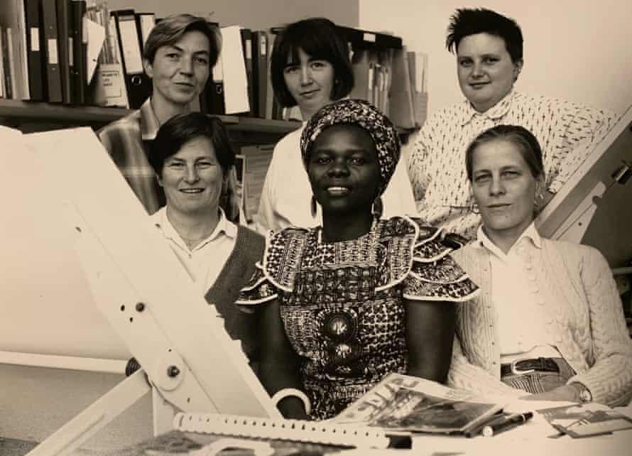 Members of Matrix in the 1990s … Mo Hildenbrand, Sheelagh McManus, Raechel Ferguson (back row); Janie Grote, Annie-Louise Phiri, Julia Dwyer (front).