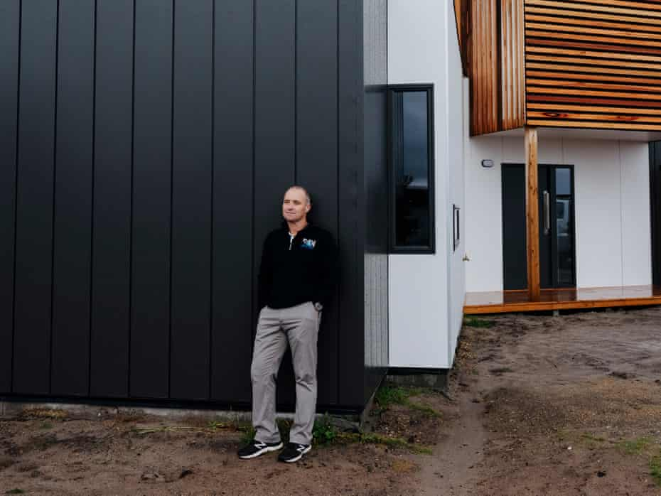 Tony O'Connell, 53, outside a completed home he and his team at TS Constructions built at The Cape.