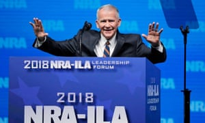 Oliver North speaks at an NRA convention in Dallas, Texas on 4 May 2018.