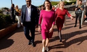 Liberal Democrat leader Jo Swinson arrives at the party conference in Bournemouth.
