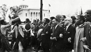 King leading the march from Selma to Montgomery in March 1965.