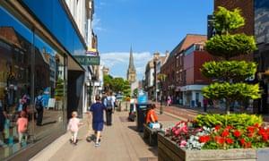 Shops on Fishergate in Preston's town centre.
