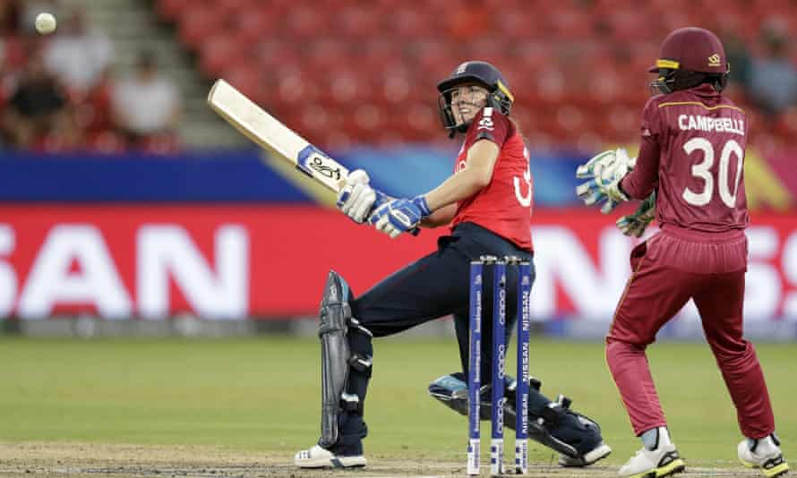 Nat Sciver plays a shot on her way to her third half-century of the tournament.