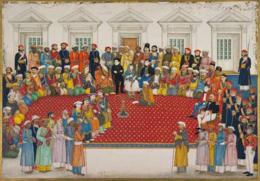 A painting of the household of Begum Samru, ruler of Sardhana in Uttar Pradesh in the 18th century.