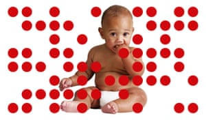 Composite of sitting baby wearing nappy, against white background and surrounded by red dots