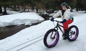 Merope Mills on her fatbike in Tahoe Donner