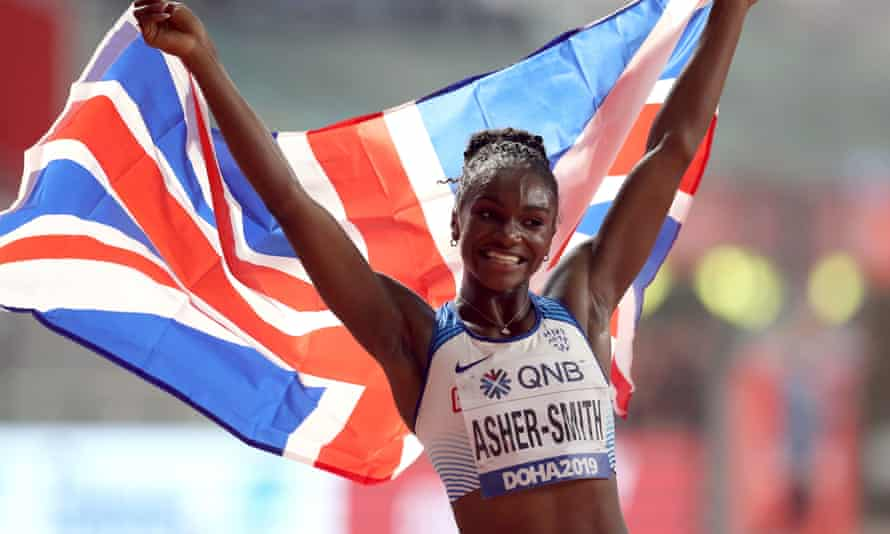Great Britain's Dina Asher-Smith celebrates winning the Women's 200m final at the IAAF World Championships in Doha, Qatar