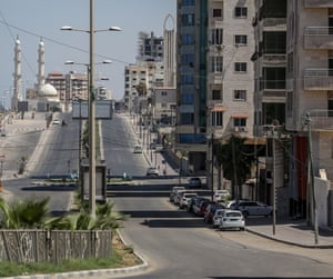 A usually crowded street is nearly empty in Gaza City.