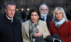 Mary Lou McDonald (centre) and Michelle O'Neill (right), outside the Houses of Parliament in London.