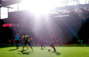 Sadio Mané of Liverpool controls the ball in the sunlight against Watford as Liverpool secured a nervy 2-0 win.