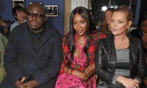 (L-r) Edward Enninful, Naomi Campbell and Kate Moss at London fashion week, 2017.