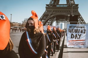 The conservative Manif Pour Tous group holds a women's rights protest in Paris, France