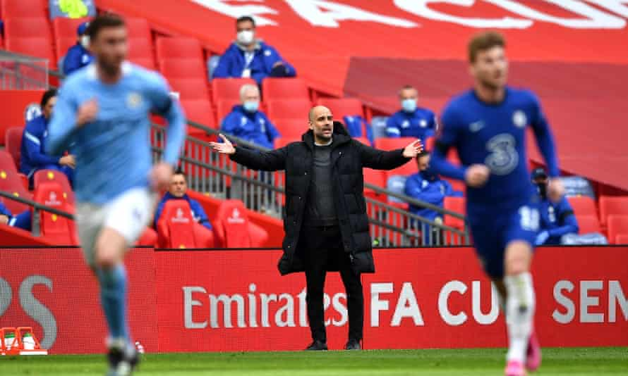 Pep Guardiola shows his frustration as Manchester City slump to defeat by Chelsea in Saturday's FA Cup semi-final
