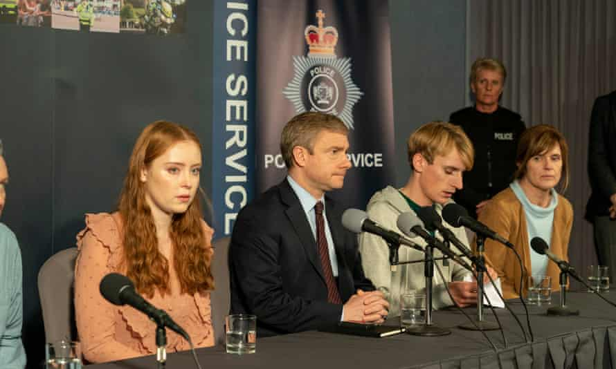 Stellar case ... (from left) Jessica D'arcy, Martin Freeman, Charlie Cooper and Siobhan Finneran in A Confession.