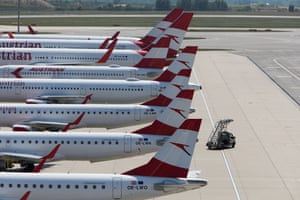 Planes remain grounded at an empty Vienna International Airport during the Coronavirus outbreak Coronavirus outbreak, Vienna, Austria.