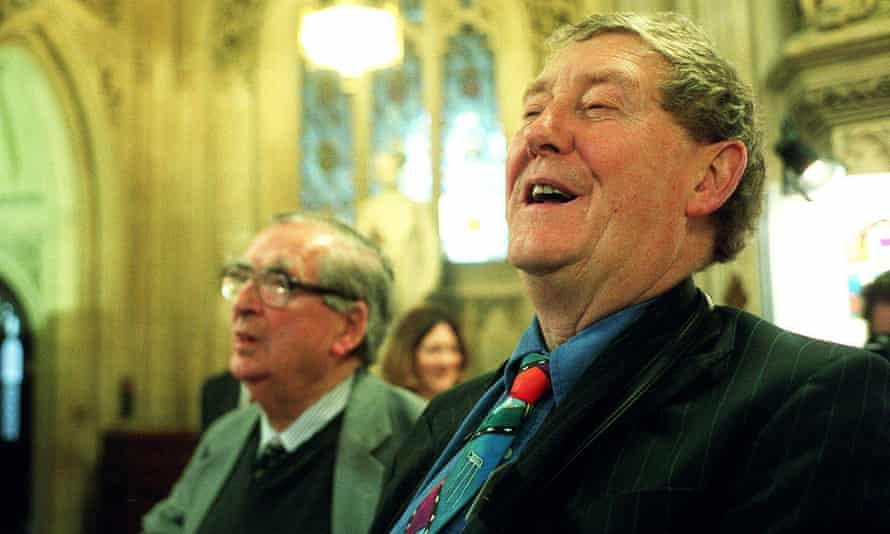 Austin Mitchell, right, with Denis Healey in 2001.