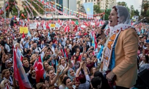 Meral Akşener speaks to supporters at a rally in Adana.