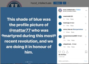An Instagram post from a London Brunel student explaining the avatar colour change.