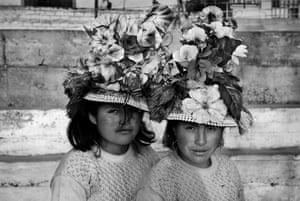 Girls from Huancavelica, southern Peru, stand for a portrait during the international festival of street theatre in La Balanza, Comas, Lima, in 2015.