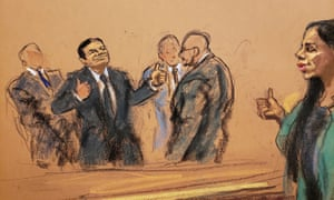 Joaquin 'El Chapo' Guzmán is seen in this courtroom sketch, giving thumbs up sign to wife Emma Coronel Aispuro, before being escorted out of courtroom on the day he was found guilty.