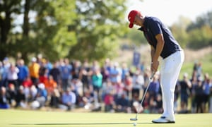 Justin Thomas lines up a shot on the final day of the Ryder Cup, when he defeated Rory McIlroy in a tightly-fought singles match. On an individual level, the American had a good tournament.