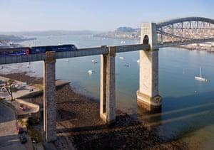The Royal Albert Bridge between Plymouth in Devon and Saltash, Cornwall