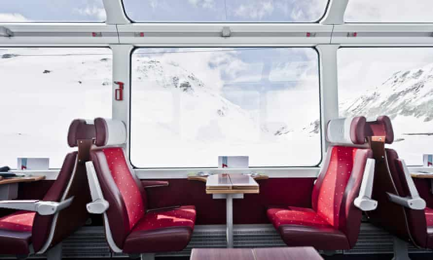 View from the Glacier Express to snow-covered Alps, Switzerland.