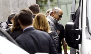 Otávio Marques Azevedo, CEO of the Andrade Gutierrez construction company, leaves the federal police headquarters in São Paulo on Friday.