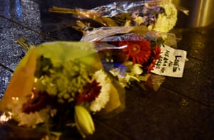 Flowers have been laid at the scene after the attack on Westminster Bridge.