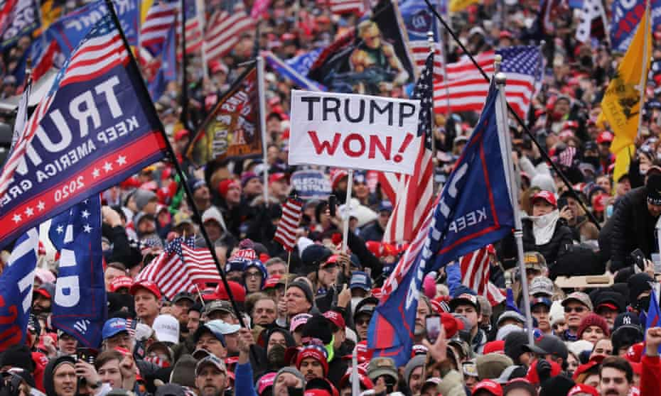 Trump supporters at the 'Stop the Steal' rally in Washington DC on 6 January, ahead of the Capitol attack.