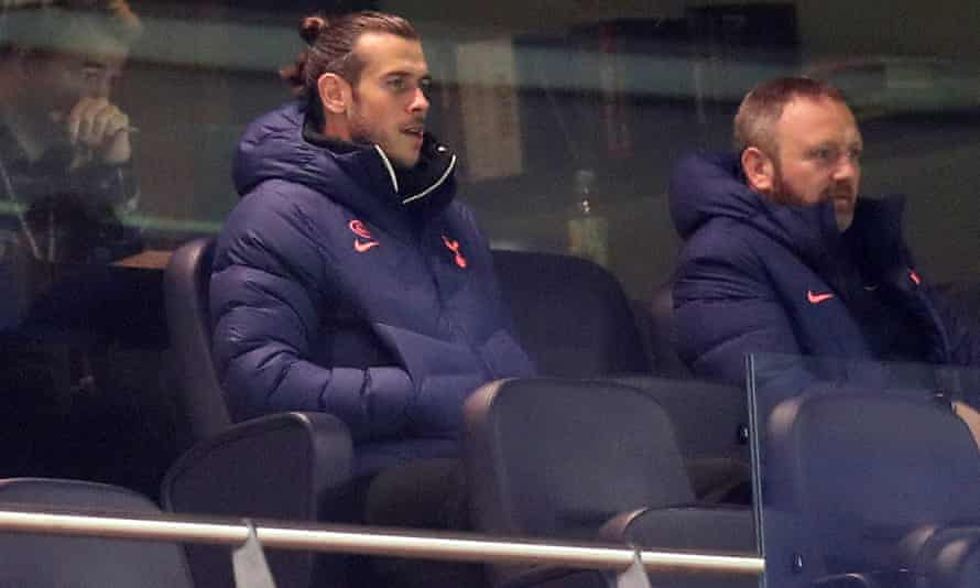 Gareth Bale looks on from the stands during the Carabao Cup fourth round tie against Chelsea at the Tottenham Hotspur Stadium on Tuesday