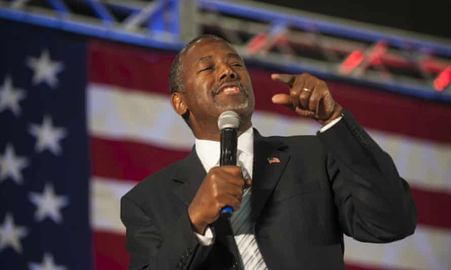 Ben Carson speaks to the crowd during a campaign rally held at Spring Arbor University in Spring Arbor, Michigan, on Wednesday.