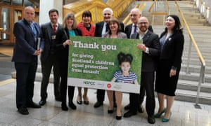 MSPs celebrate the passing of the Children (Equal Protection from Assault) (Scotland) Bill, banning smacking children in Scotland.