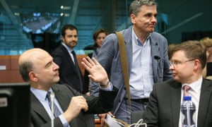 European Commissioner Pierre Moscovici, Greek finance minister Euclid Tsakalotos, and EC vice-president Valdis Dombrovskis at the Eurogroup meeting