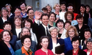 Tony Blair in 1997, with 96 of the 101 female Labour MPs elected to parliament.