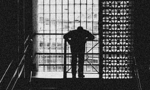 An anonymous person on a landing in Wandsworth Prison in London.