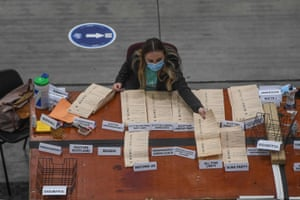 Ballot papers being counted in Aberdeen, Scotland, this morning.