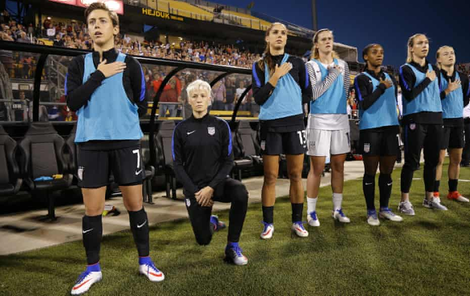 Megan Rapinoe kneels during the national anthem before the match between the US and Thailand in September 2016.