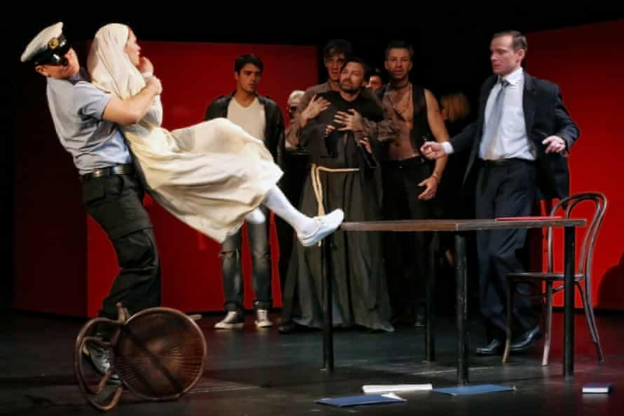 Isabella (Anna Khalilulina) is dragged from Angelo (Andrei Kuzichev) in Measure for Measure