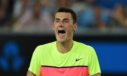 Bernard reacts as he plays against Germany's Philipp Kohlschreiber during their men's singles match on day three of the 2015 Australian Open.