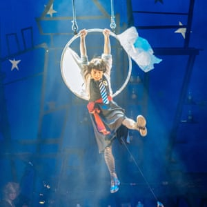 A hula-hoop moon … Danielle Bird in an aerial sequence.